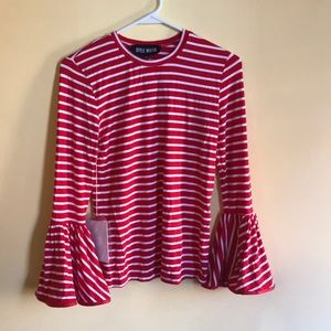 Style Mafia red striped bell sleeve fitted top